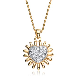 Collette Z Sterling Silver White Cubic Zirconia Gold-Plated Shining Heart Pendant