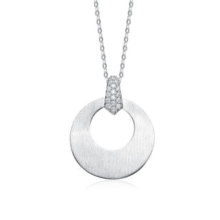 Collette Z Sterling Silver White Cubic Zirconia Stones Oval Pendant
