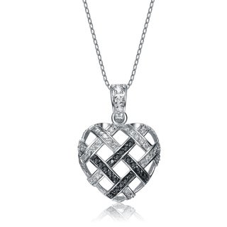 Collette Z Sterling Silver Black and White Cubic Zirconia Woven Heart Pendant