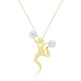 Finesque Gold Overlay Diamond Accent Cheerleader Necklace