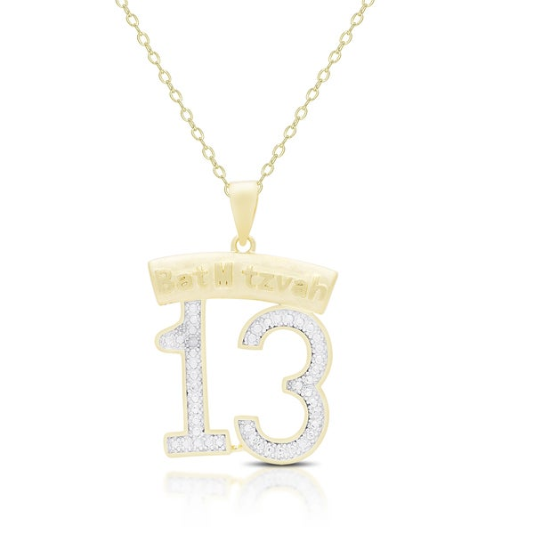 Finesque Gold Overlay Diamond Accent Bat Mitzvah 13 Necklace
