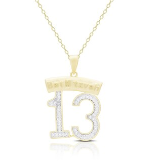 Finesque Gold Overlay Diamond Accent Bat Mitzvah 13 Necklace
