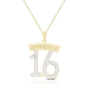 Finesque Gold Overlay Diamond Accent Sweet Sixteen Necklace