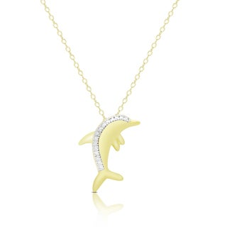 Finesque Gold Overlay Diamond Accent Dolphin Necklace