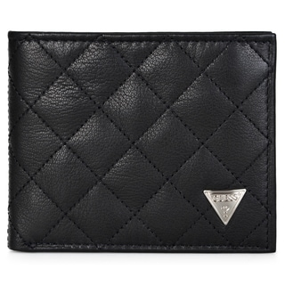 Guess Men's Quilted Genuine Leather Double Billfold Wallet