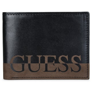 Guess Men's Genuine Leather Double Billfold Wallet