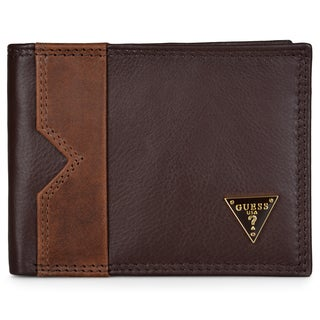 Guess Men's Genuine Leather Two-tone Billfold Wallet