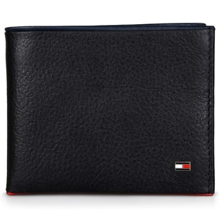 Tommy Hilfiger Men's Genuine Leather Pebbled Passcase Wallet