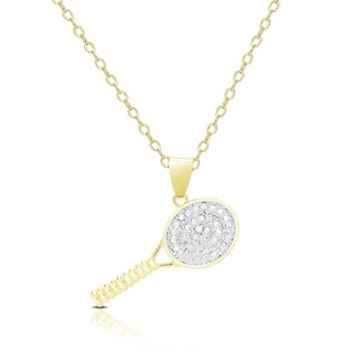 Finesque Gold Overlay Diamond Accent Tennis Necklace