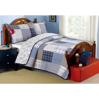 Cozy Line Benjamin Plaid Dinosaur Print 3-piece Quilt and Sham Set