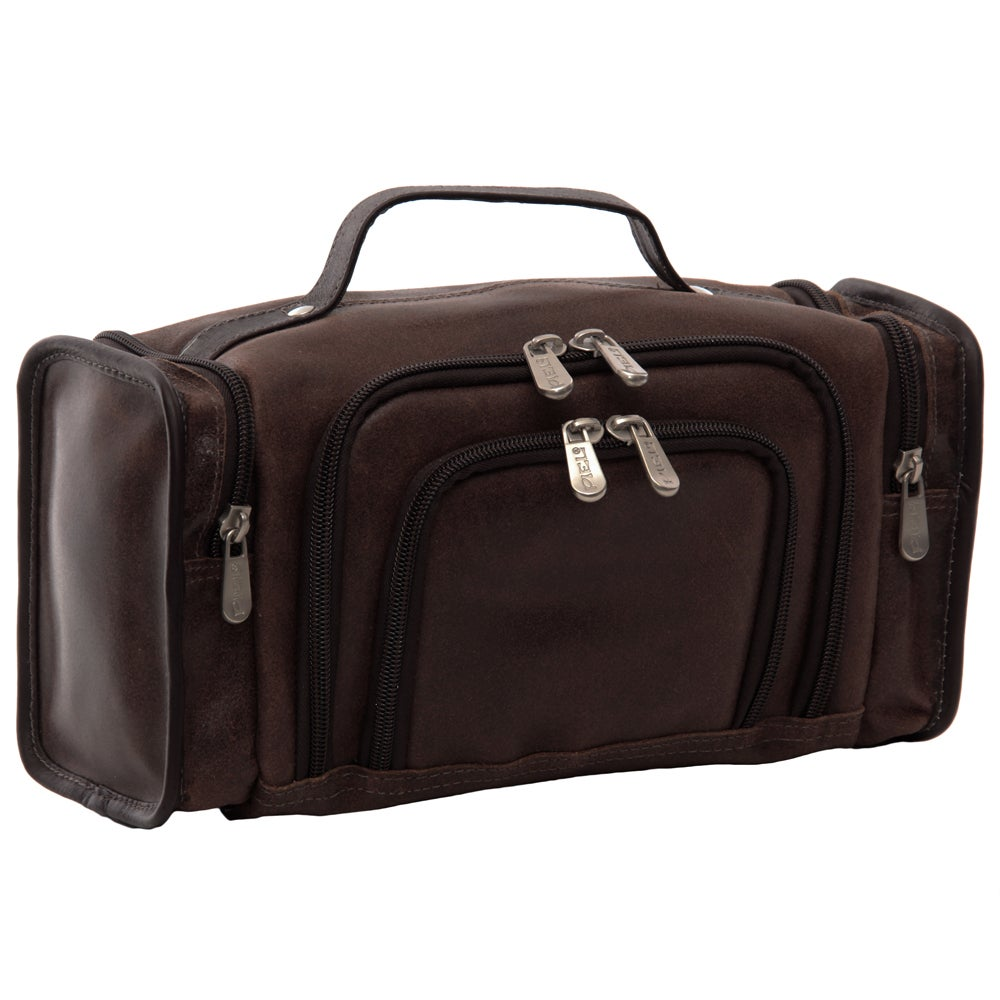 Piel Leather Multi-Compartment Toiletry Kit (Vintage Brown)
