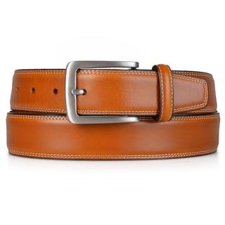 Vance Co. Men's Topstitched Genuine Leather Dress Belt