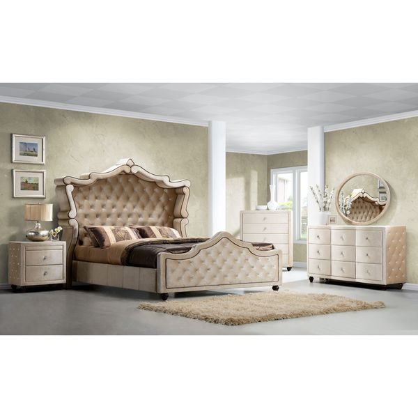 Diamond Canopy Golden Beige Velvet Tufted 5 Piece Bedroom Set Diamond Canopy Golden Beige Velvet Tufted