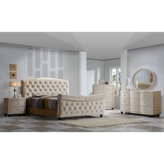 Diamond Golden Beige Velvet Tufted Sleigh Bed