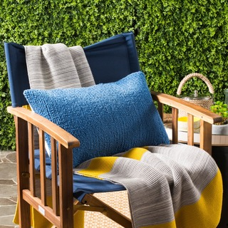 Safavieh Soleil Solid Indoor/ Outdoor Light Marine Blue 12-inch x 20-inch Throw Pillows (Set of 2)