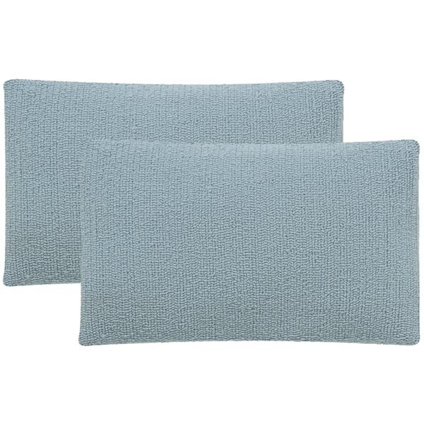 Safavieh Soleil Solid Indoor/ Outdoor Marine Baby Blue 12-inch x 20-inch Throw Pillows (Set of 2)