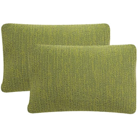 SAFAVIEH Soleil Solid Indoor/ Outdoor Tropical Green 12-inch x 20-inch Throw Pillows (Set of 2)