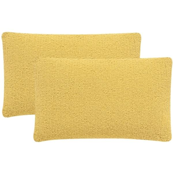 Safavieh Soleil Solid Indoor/ Outdoor Sunshine Yellow 12-inch x 20-inch Throw Pillows (Set of 2 ...