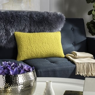 Safavieh Soleil Solid Indoor/ Outdoor Sunshine Yellow 12-inch x 20-inch Throw Pillows (Set of 2)