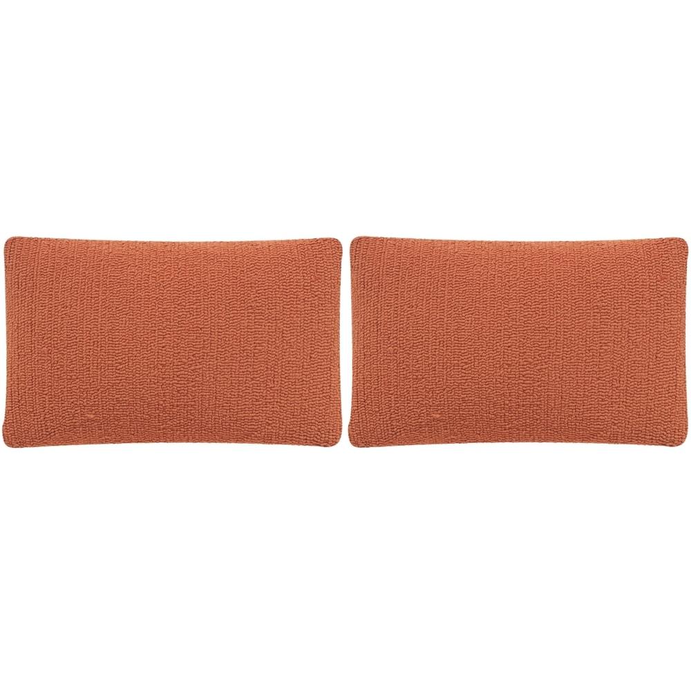 Shop Safavieh Soleil Solid Indoor/ Outdoor Tropical Orange 12-inch x 20-inch Throw Pillows (Set of 2) - 10991711