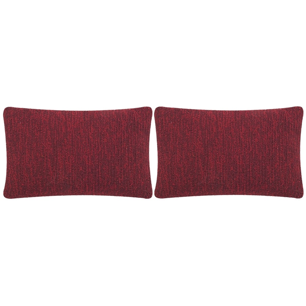 Shop Safavieh Soleil Solid Indoor/ Outdoor Marine Red 12-inch x 20-inch Throw Pillows (Set of 2) - Overstock - 10991718