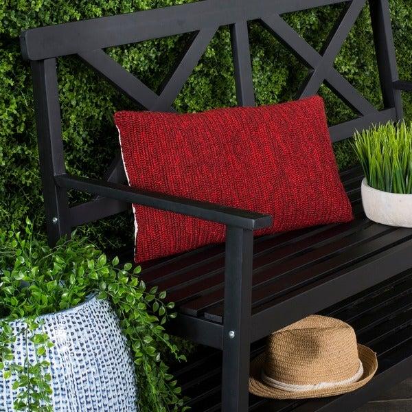Safavieh Soleil Solid Indoor/ Outdoor Marine Red 12-inch x 20-inch Throw Pillows (Set of 2)