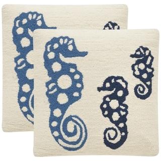 Safavieh Soleil Tropical Oreas Indoor/ Outdoor Marine Blue 20-inch Square Throw Pillows (Set of 2)