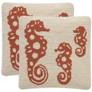 Safavieh Soleil Tropical Oreas Indoor/ Outdoor Tropical Orange 20-inch Square Throw Pillows (Set of