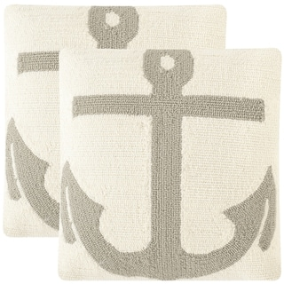 Safavieh Soleil Ahoy Indoor/ Outdoor Tropical Light Grey 20-inch Square Throw Pillows (Set of 2)
