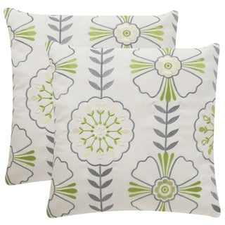 Safavieh Soleil Flower Power Indoor/ Outdoor Sweet Green 20-inch Square Throw Pillows (Set of 2)