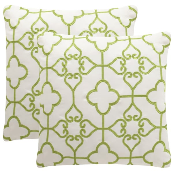 Safavieh Soleil Nadia Indoor/ Outdoor Sweet Green 20-inch Square Throw Pillows (Set of 2)