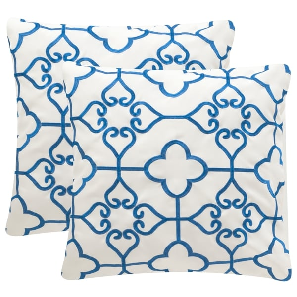 Safavieh Soleil Nadia Indoor/ Outdoor Royal Blue 20-inch Square Throw Pillows (Set of 2)