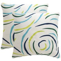 Safavieh Soleil lollipop Indoor/ Outdoor Breezy Blue 20-inch Square Throw Pillows (Set of 2)