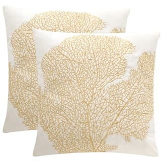 Safavieh Soleil Spice Fan Coral Indoor/ Outdoor Gold 20-inch Square Throw Pillows (Set of 2) https://ak1.ostkcdn.com/images/products/10991757/P18012382.jpg?impolicy=medium