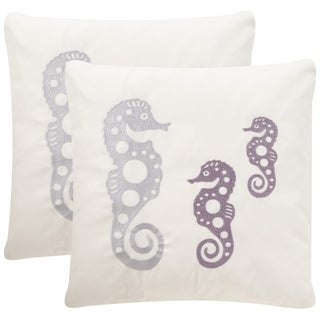 Safavieh Soleil Tropical Oreas Indoor/ Outdoor Sea Stone 20-inch Square Throw Pillows (Set of 2)