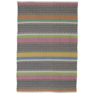 Indian Maya Pink Multicolored Cotton Rug (8' x 10')