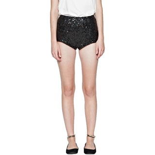 French Connection Women's Cosmic Black Sequin Sparkle Dress Shorts