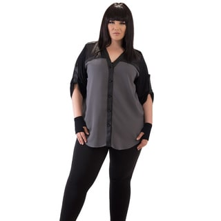Full Figured Fashionista Women's Grey Panel Plus Size Top