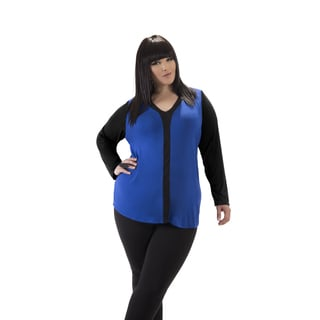 Full Figured Fashionista Women's Blue Plus Size Y-top