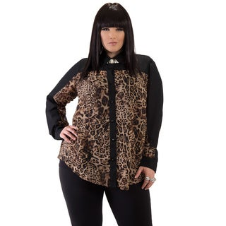 Full Figured Fashionista Women's Leopard Plus Size Button-down Shirt