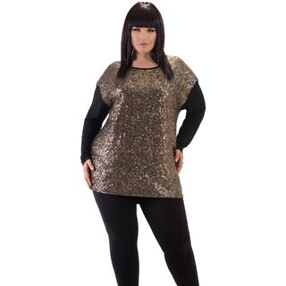 Full Figured Fashionista Women's Gold Sequin Holiday Plus Size Top