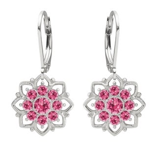 Lucia Costin Sterling Silver Pink Crystal Lovely Flower Earrings