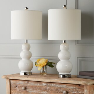 Abbyson Camden Gourd White Table Lamp (Set of 2)