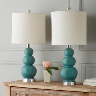 Link to Camden Gourd Turkish Blue 20-inch Table Lamp (Set of 2) By Abbyson Similar Items in Lamp Sets