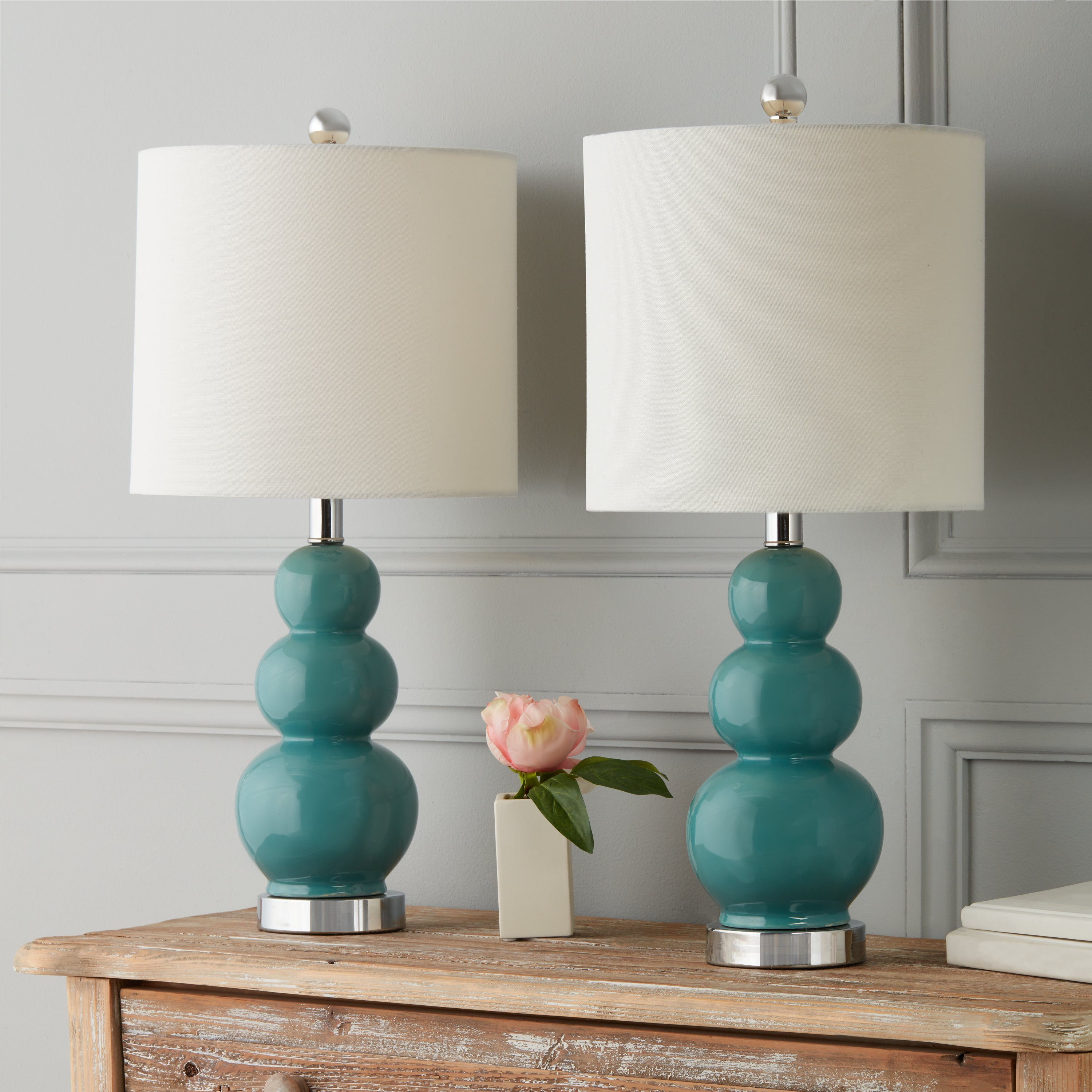 Abbyson Camden Gourd Turkish Blue Table Lamp (Set of 2) (...