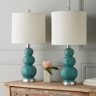 Captivating Abbyson Camden Turkish Blue Ceramic Gourd Table Lamps (Set Of 2)
