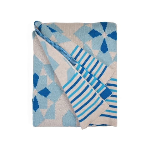 Handmade Ellesmere Blue Throw (India)