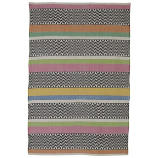 Indian Maya Pink Multicolored Cotton Rug (4' x 6')