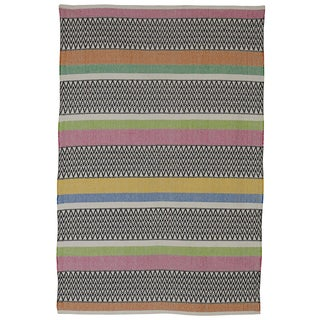Indian Maya Pink Multicolored Cotton Rug (6' x 9')