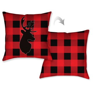 Laural Home Lodge Buffalo Plaid Decorative Throw Pillow (18 inches x 18 inches)